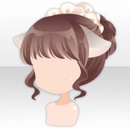 (Hairstyle) Cat Ears on White Brim & Bun Hair ver.A brown