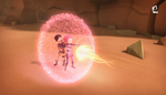Aelita using her shield Evolution 7