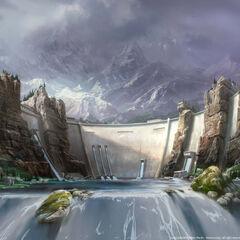 Концептна уметност реплике планинског сектора.