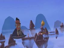 Yumi, Aelita and Odd flying through the Mountain Sector