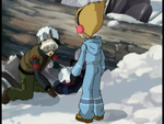 Cold War Yumi is stuck underneath the tree image 1