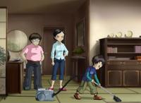 Hiroki, Takeho and Akiko Ishiyama in Season 4 outfits