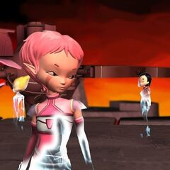 Aelita, Yumi and Odd landing on Xanadu.