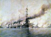 Austro-Hungarian fleet on maneuvers