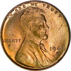 USD 1948 1 Cent D