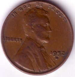 USD 1952 1 Cent D