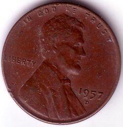 USD 1957 1 Cent D