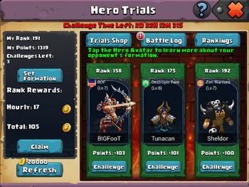 Hero Trials Interface