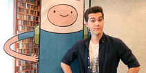 Jeremy Shada and cardboard cut-out of Finn