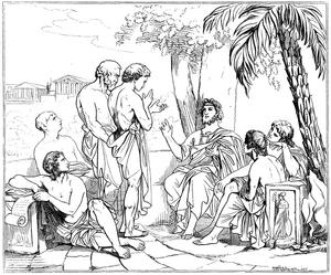 723px-Plato i sin akademi, av Carl Johan Wahlbom (ur Svenska Familj-Journalen)
