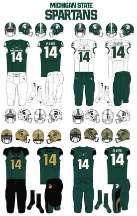 NCAA-Big 10-MSU-Spartans Uniforms