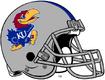 NCAA-Big 12-Kansas Jayhawks Mascot Logo Silver Blue Striped helmet