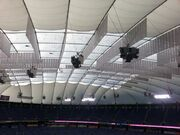 Inside of Metrodome roof in 2013