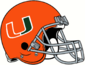 NCAA-ACC-Miami Hurricanes Orange helmet-gray facemask