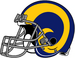 NFL-NFCW-Helmet-LA Rams-Yellow Horn Logo-Grey Mask-Right Face