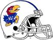 NCAA-Big 12-Kansas Jayhawks Mascot Logo White Blue Striped helmet
