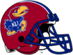 NCAA-Big 12-Kansas Jayhawks Mascot Logo Red striped helmet