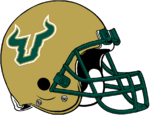NCAA-AAC-USF Bulls Gold Helmet-white logo trim