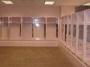 Inside the visitor's pink locker room inside Kinnick Stadium. Former Iowa coach Hayden Fry had the locker room painted pink.