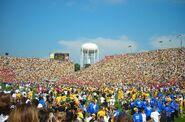 Students rushing renovated Kinnick Stadium