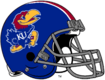NCAA-Big 12-Kansas Jayhawks Mascot Logo Blue striped helmet