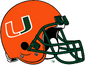 NCAA-ACC-Miami Hurricanes Orange helmet-green facemask