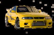 Yellow Nissan Skyline GTR (R33)