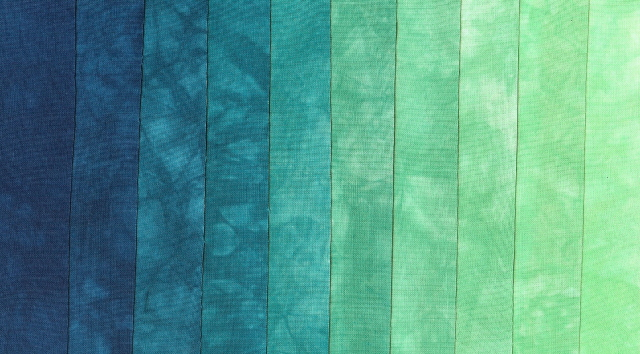 blue to green fabric