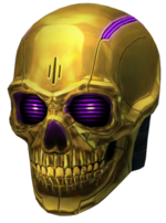 Gold Robot Skull High Resolution