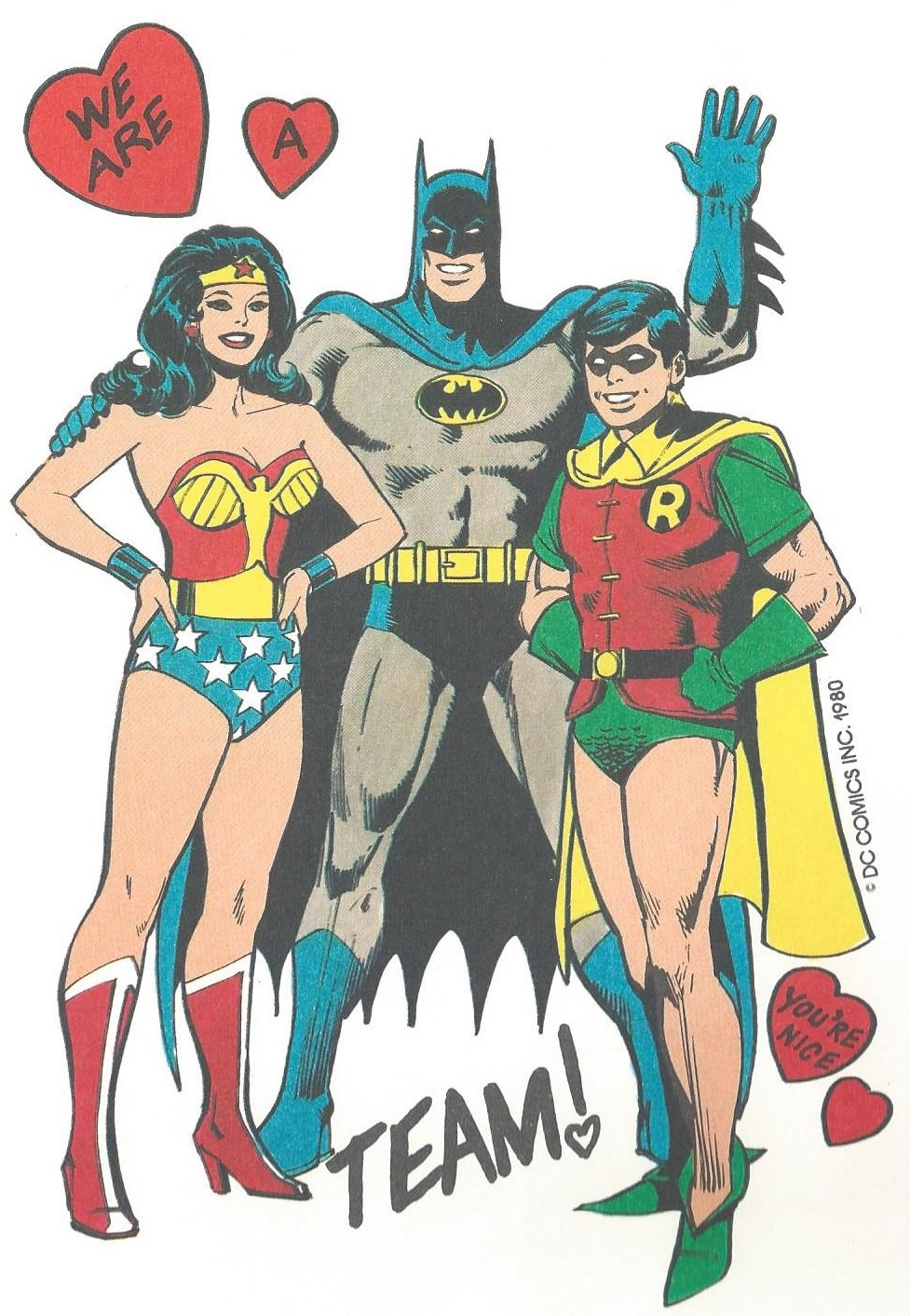Super Friends Valentine Card Wonder Woman Batman Robin
