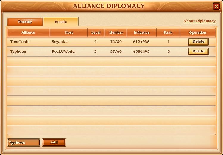 Alliance - Diplomacy - Hostile
