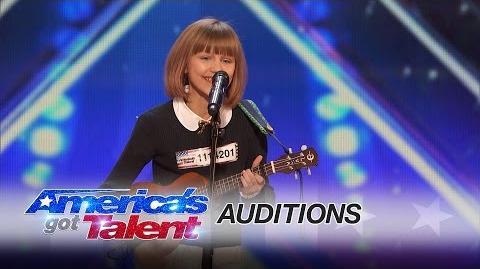 Grace VanderWaal 12-Year-Old Ukulele Player Gets Golden Buzzer - America's Got Talent 2016-0