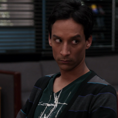 ...<b>Abed</b> wiggling his eyebrows suggestively at her. Across the study table, Britta notices...