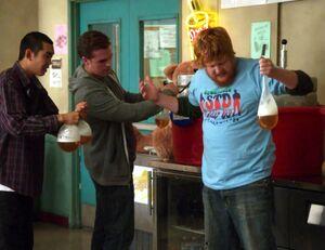 Eric leaking condom water balloon