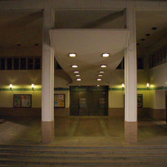 The library at night.