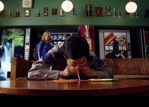 3X19 Chang snorts a bag of corn chips