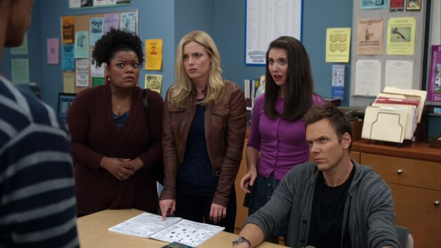 File:The women find out about Abed's notebook.jpg