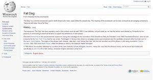 Fat Dog Wikipedia page