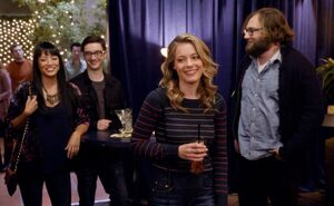5X7 Britta becomes the toast of the party
