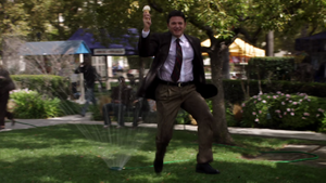 Skipping over sprinklers with an ice cream cone