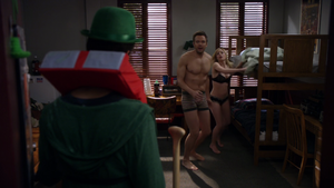 POHM Abed finds Jeff and Britta post coital in his dorm room