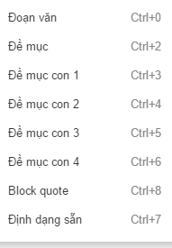 Editor format menu