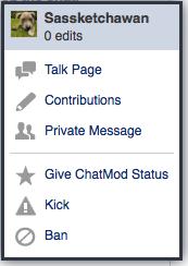 User menu - chat