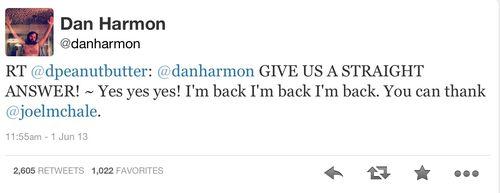 Dan Harmon Twitter return