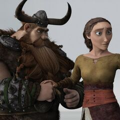 Valka diciendole a Estoico y a Hipo que deben salvar a los dragones