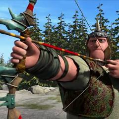 Primer plano a un cazador listo para disparar una flecha con raíz de dragón. Nótese la sustancia verde en la punta de la misma