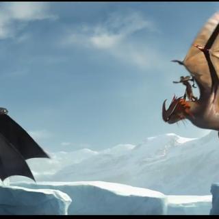 Brincanubes volando enfrente de Chimuelo