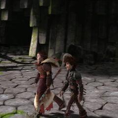Valka mostrandole a su hijo el santuario
