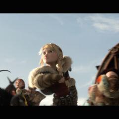 Astrid viendo a Hipo luchando contra el Alfa