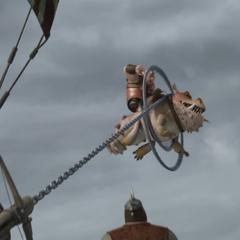 Lanzador de cadenas en funcionamiento